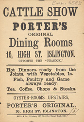 Advert for Porter's Dining Rooms